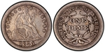 U.S. 10-cent Dime 1843 Coin