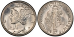U.S. 10-cent Dime 1937 Coin