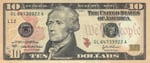 United States of America ten dollar bill 10