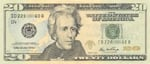United States twenty dollar bill $20