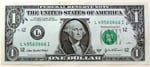 USA one dollar bill $1