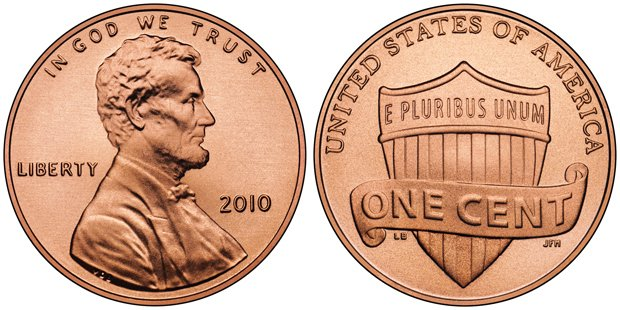 US Penny 2010 with Abraham Lincoln