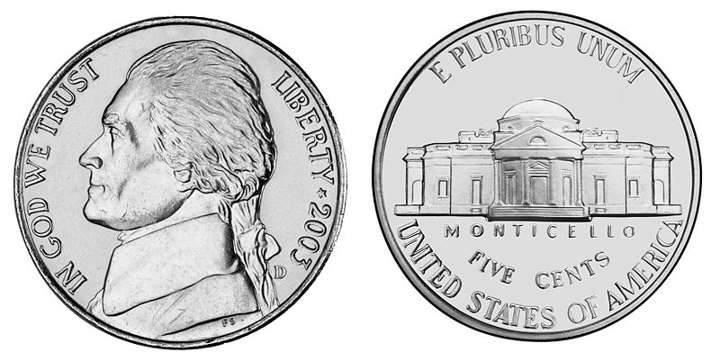 US Nickel with Thomas Jefferson