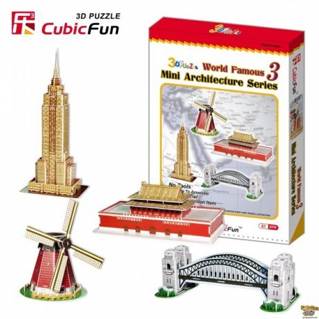 mini architecuture series 3d jigsaw puzzle by cubicfun, puzz3d dimensions mini-architecture-series-3d