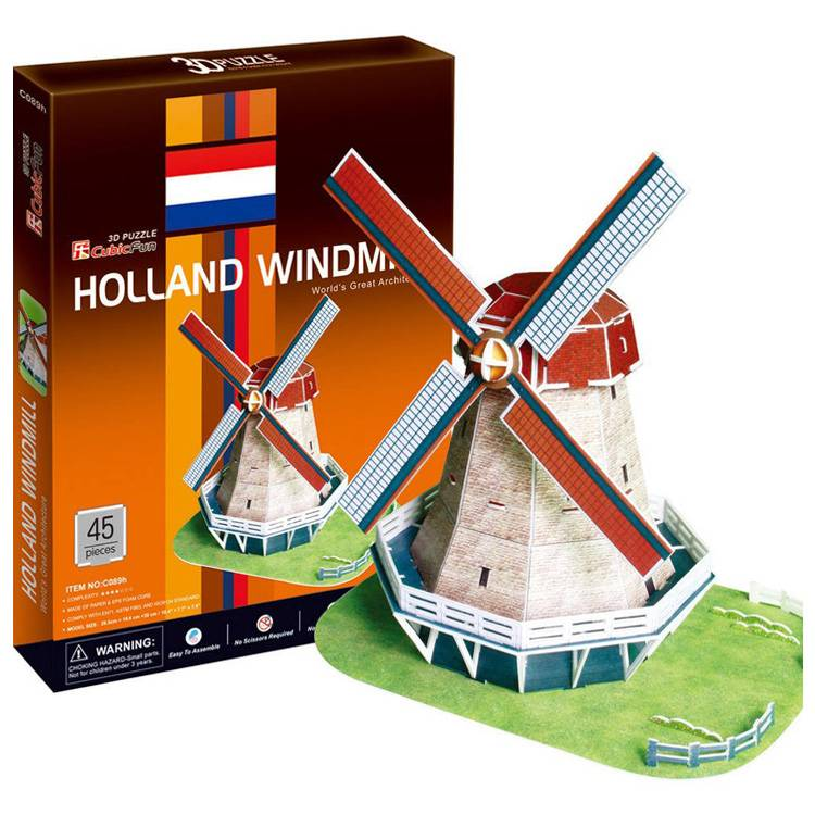 3d jigsaw puzzle, Holland Windmill, museum quality jigsaw puzzle, daron puzzle company, puzz3d holland-windmill-3d