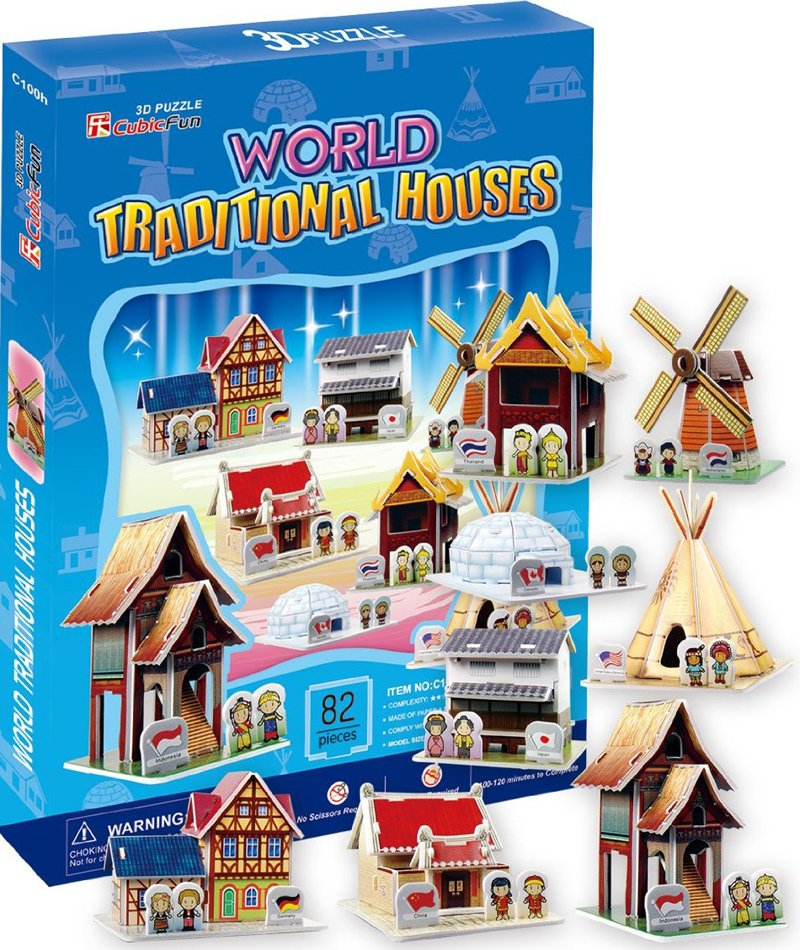 3d jigsaw puzzle, World Traditional Houses, museum quality jigsaw puzzle, daron puzzle company, puzz world-traditonal-houses