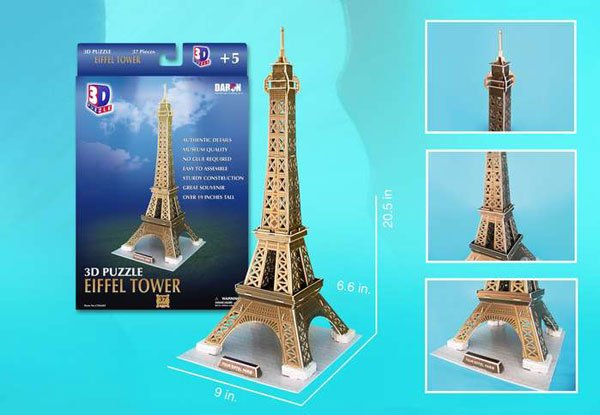 3d puzzle, eiffel tower, 37 pieces, eiffeltower 3d puzzle, small easy puzzel eiffel-tower