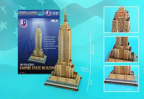 3d jigsaw puzzle, empire state building, museum quality jigsaw puzzle, daron puzzle company, puzz3d, empire-statebuilding