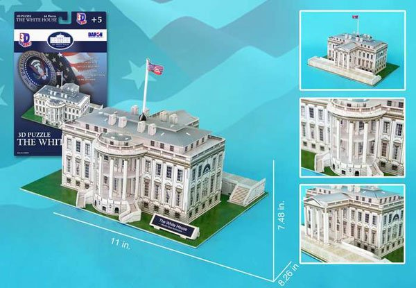 white house 3d puzzle, home of the president of the united states jigsaw puzzle of the federal build white-house