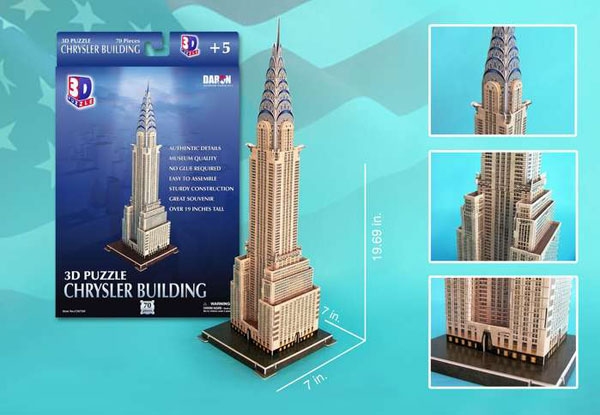 chrysler building 3d jigsaw puzzle by Daron, jigsaw puzzle featuring tall building, 2 feet tall chrysler-building-3d