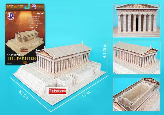 parthenon 3d puzzle, temple of greek goddess Athena daron 3d jigsaw puzzle parthenon