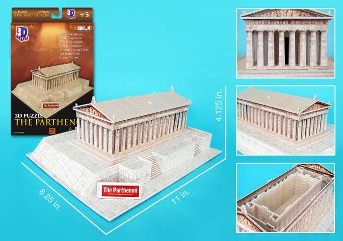 parthenon 3d puzzle, temple of greek goddess Athena daron 3d jigsaw puzzle parthenon