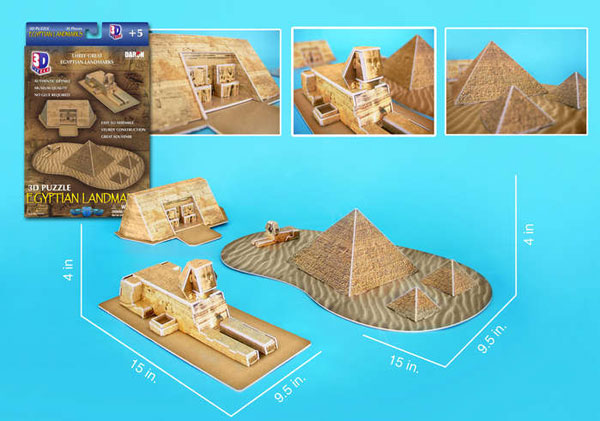 egyptian landmarks 3d jigsaw puzzle by daron, puzz3d dimensions egyptian-landmarks