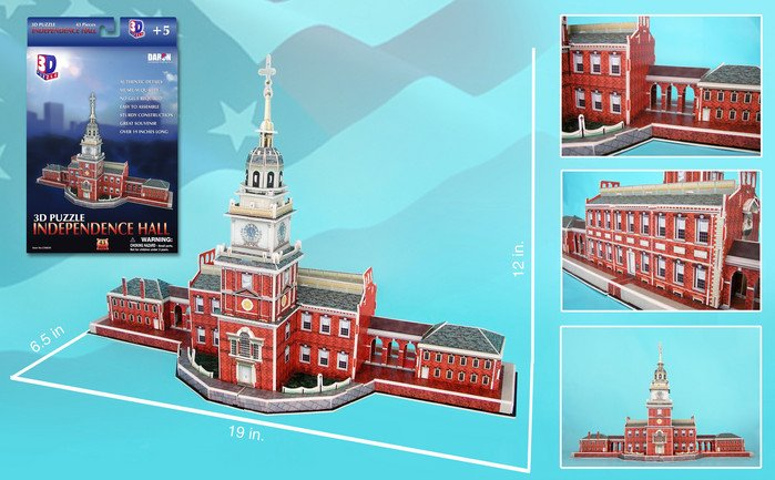 Independence Hall 3d Puzz by Daron, independencehall symbol of freedom gift 3d independence-hall