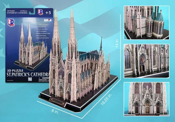 saint patricks cathedral 3d jigsaw puzzle by daron, puzz3d dimensions st-patricks-cathedral-3d