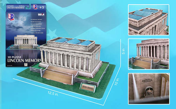 lincoln memorial 3d jigsaw puzzle by daron, puzz3d dimensions lincoln-memorial