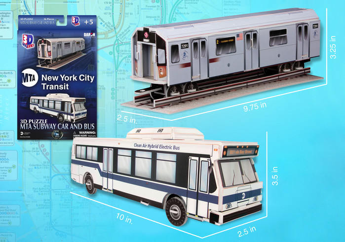 3d puzzle, puzz3d metropolitan transportation authority subway car and bus, 36 pieces, 3d puzzle, sm mta-subway-car-bus