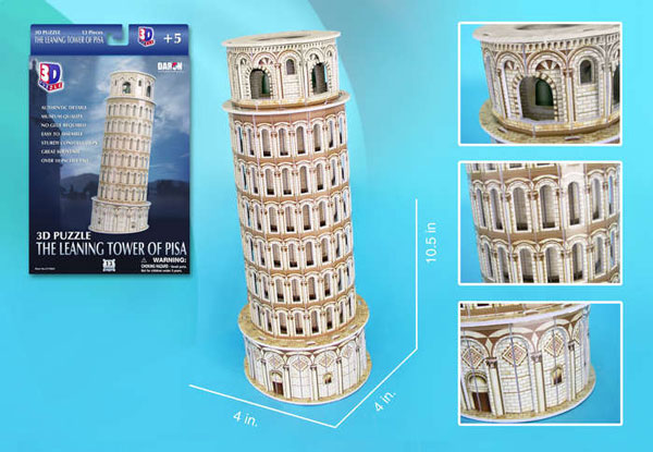 leaning tower of pisa 3d jigsaw puzzle by daron, puzz3d dimensions piza italy leaning-tower-of-pisa-3d