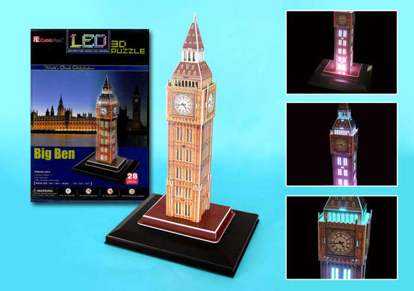 big ben 3d puzzle, united kingdom jigsaw puzzle of bigben clock and tower big-ben-led