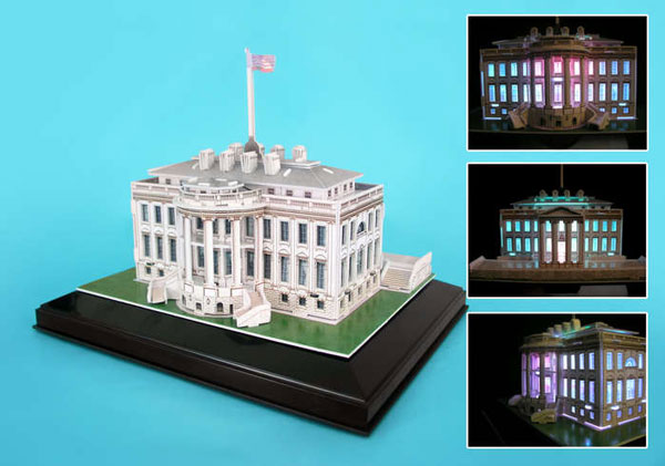 white house 3d puzzle with led lights, home of the president of the united states jigsaw puzzle of t white-house-led