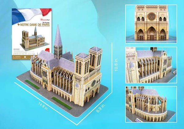 notre dame cathedral, 74 pieces, jigsaw puzzle in three dimensions by daron cubicfun puzz3d notre-dame-de-paris-cathedral