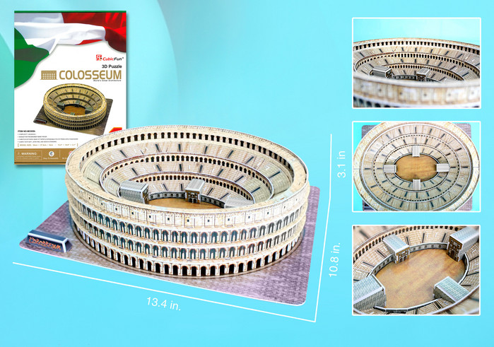 3d puzzle, roman colosseum, 84 pieces with booklet, colosseum 3d puzzle, museum quality puzzle roman-colosseum
