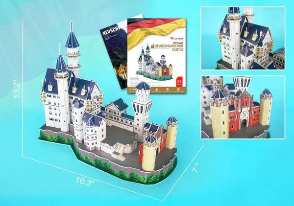 3d jigsaw puzzles of castles, neuschwanstein castle, jigsaw puzzles by daron castle neuschwanstein-castle-3d-with-book