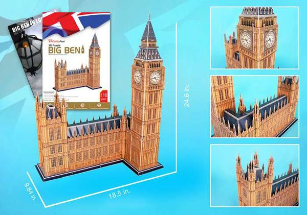 big ben 3d puzzle with free book, united kingdom jigsaw puzzle of bigben clock and tower big-ben-3d-with-book