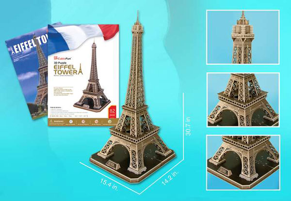3d puzzle, eiffel tower, 82 pieces with booklet, eiffeltower 3d puzzle, small easy puzzel eiffel-tower-3d-with-book