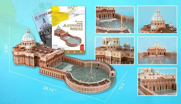 saint peters basilica in rome 3d jigsaw puzzle by daron, puzz3d dimensions st-peters-basilica-3d-with-book