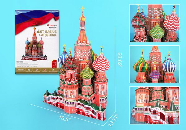 saint basils cathedral in russia 3d jigsaw puzzle by daron, puzz3d dimensions 173 pieces st-basils-cathedral-3d-with-book