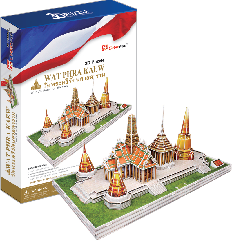 wat phra kaew buddhist temple 3d jigsaw puzzle by cubicfun, puzz3d dimensions 152 pieces wat-phra-kaew-booklet