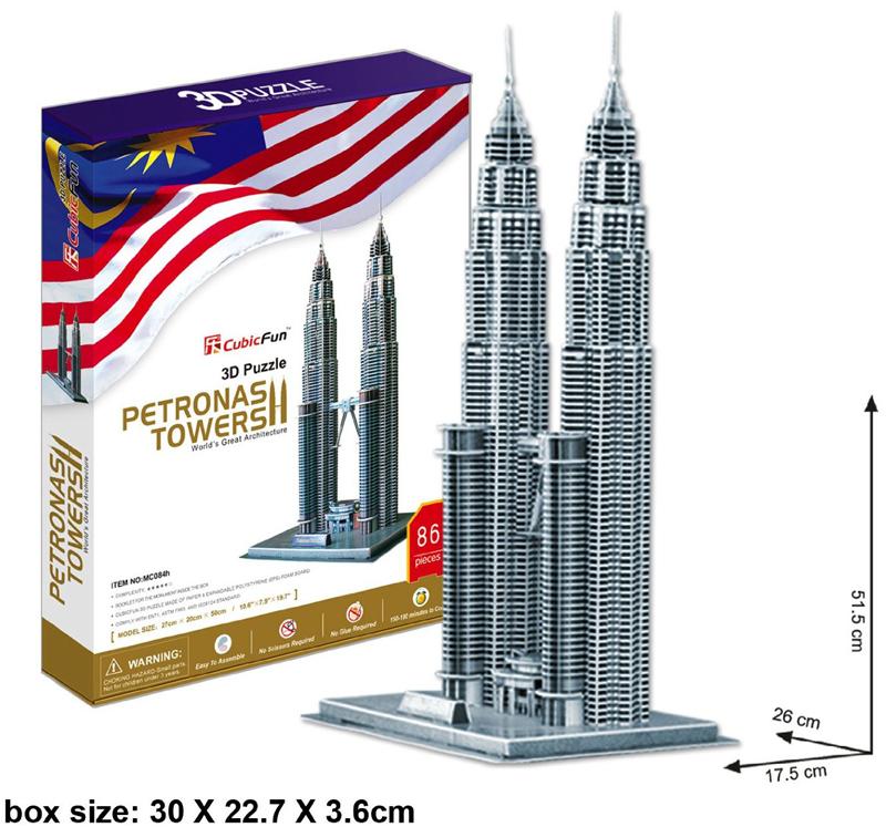petronas towers jigsaw puzzle, 88 pieces jigsaw puzzle, daron cubicfun puzz3d petronas-towers
