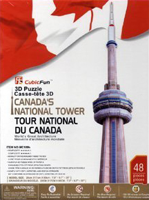 puzz3d wrebbit cn tower, canadian landmark jigsaw puzzles, 3d puzles, 48 pieces 3d puzzle cn-tower-3d