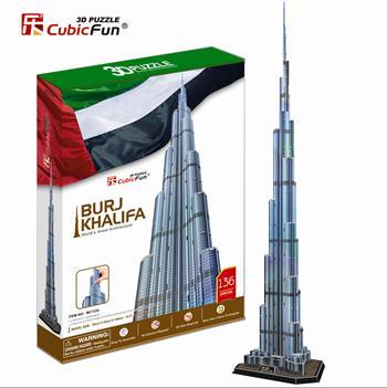 burj khalifa 3d puzzle cubicfun, U.A.E. dubai landmark skyscraper jigsaw puzzles, 3d puzles, 136 pie burj-khalifa