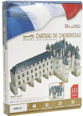 3d jigsaw puzzles of castles, chenonceau castle, jigsaw puzzles by cubicfun 3d castle chateau-chenonceau-3d-puzz-with-book