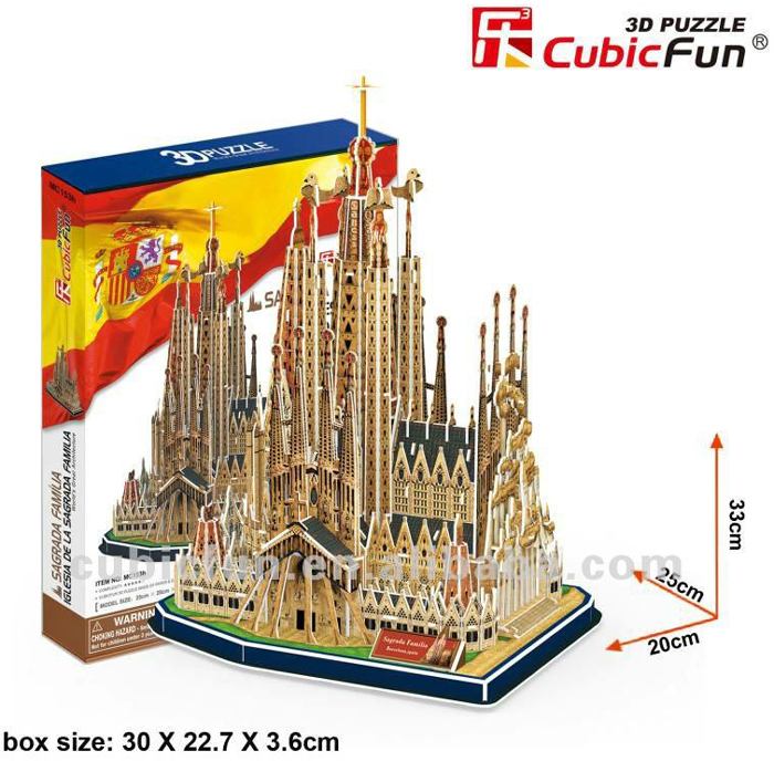 sagrada familia iglesia church 194 piece 3d jigsaw puzzle by cubicfun, puzz3d dimensions sagrada-family-iglesia