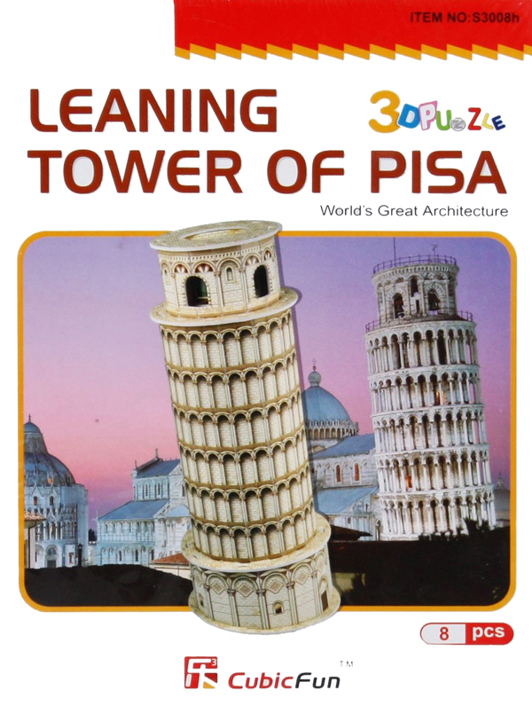 leaning tower of pisa 3d jigsaw puzzle by daron, puzz3d dimensions piza italy leaning-tower-pisa-3d-8-pcs
