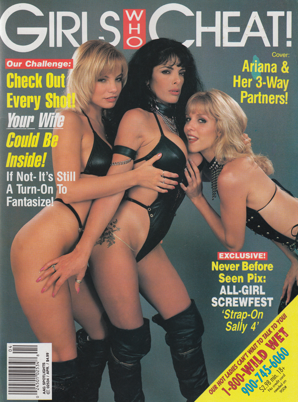 Adult Action Guide Spotlights April 1995 - Girls Who Cheat magazine back issue Adult Action Guide Spotlights magizine back copy check out ever shot wife could be inside cheat fantasize ariana 3 way all girl screw fest strap on s