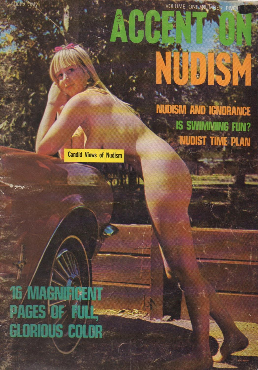 Accent on Nudism Vol. 1 # 5 magazine back issue Accent on Nudism magizine back copy