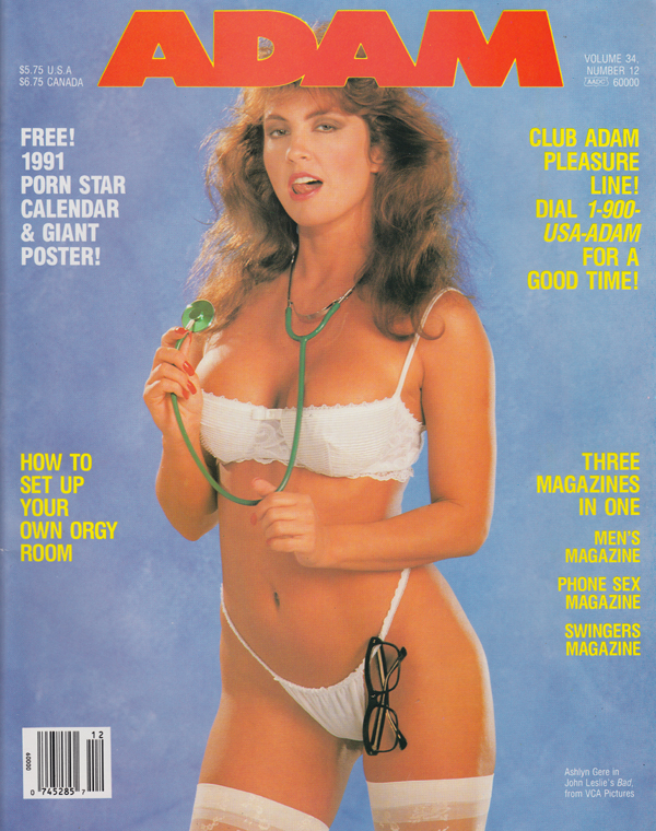 Adam Vol. 34 # 12 - December 1990 magazine back issue Adam magizine back copy how to set up your own orgy room annemarie the sptrinkle salon blond on blond swinging drams new orl