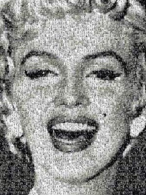 photomosaics marilyn monroe, 1000 pieces buffalo jigsaw puzzle, poster inside marilynmonroe