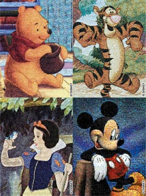 disney jigsaw puzzles, winnie the pooh, mickey mouse, snow white, tigger disneycollection4pack