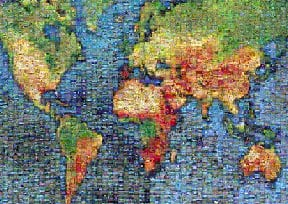 photomosaic puzzle of the earth made from thousands of photos, buffalo earth
