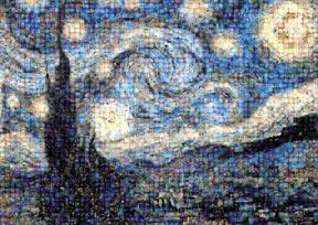 van gogh starry night, photomosaic jigsaw puzzle, silvers starrynightphotomosaicpuzzle