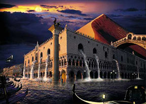sunset in venice, buffalo jigsaw puzzle, cyberrealism, 1000 pieces chayan khoi venicesunset