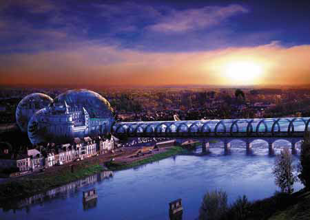 bridge to a new world, futuristic city, jigsaw puzzles, chayan khoi bridgetothenewworld
