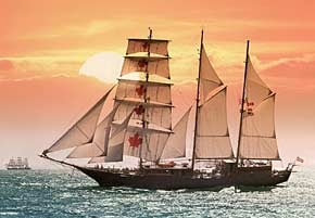 1000 pieces jigsaw puzzle by castorland, sailing ship in the sunset sailingshipinthesunset