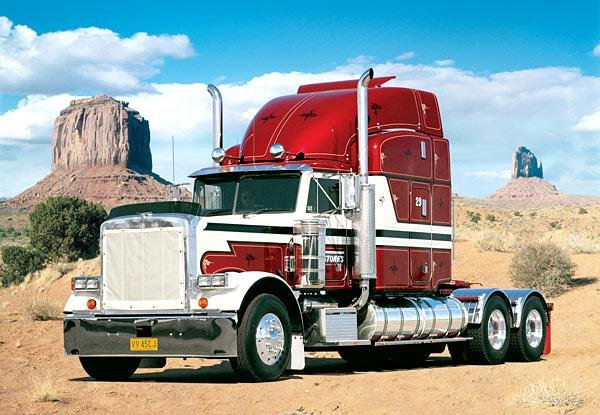 1000 pieces jigsaw puzzle by castorland, peterbilt in the desert peterbilt