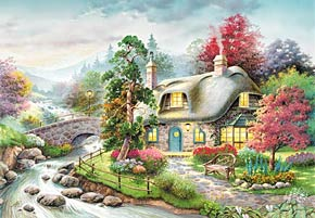 1000 pieces jigsaw puzzle by castorland, cottage in the fall cottage
